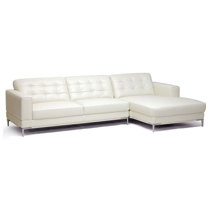 Babbitt Ivory Leather Modern Sectional with Chaise