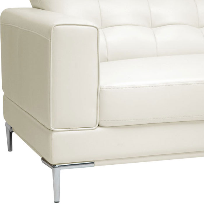 Babbitt Ivory Leather Modern Sectional with Chaise - WI-1365-8143
