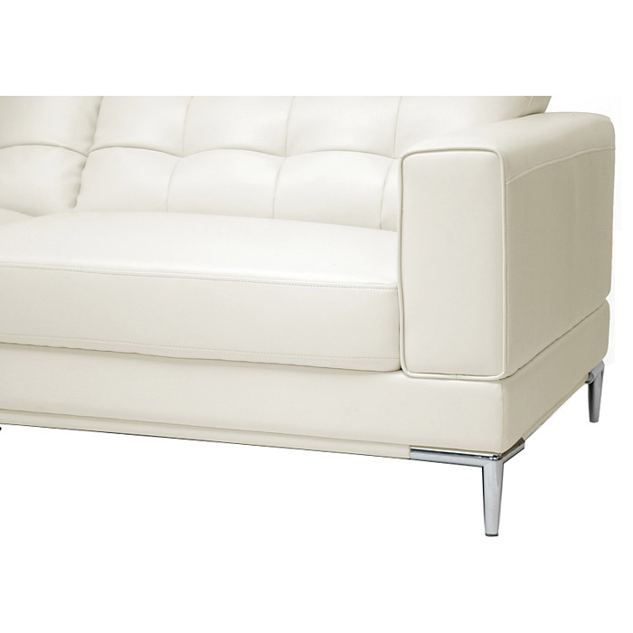 Babbitt Sectional Sofa - Ivory Leather, Left Facing Chaise - WI-1365-SECTIONAL-LFC-DU8143