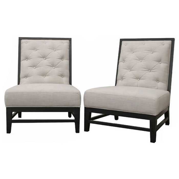 Bristol Tufted Grey Linen Modern Lounge Chair (Set of 2)