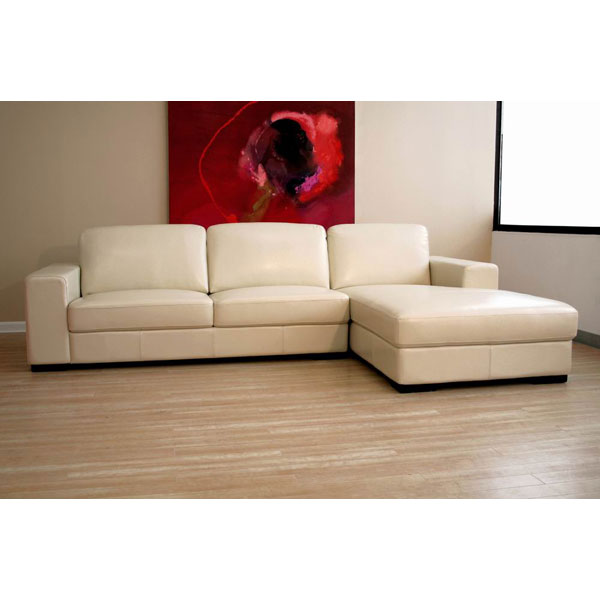 Cream Leather Sectional Sofa