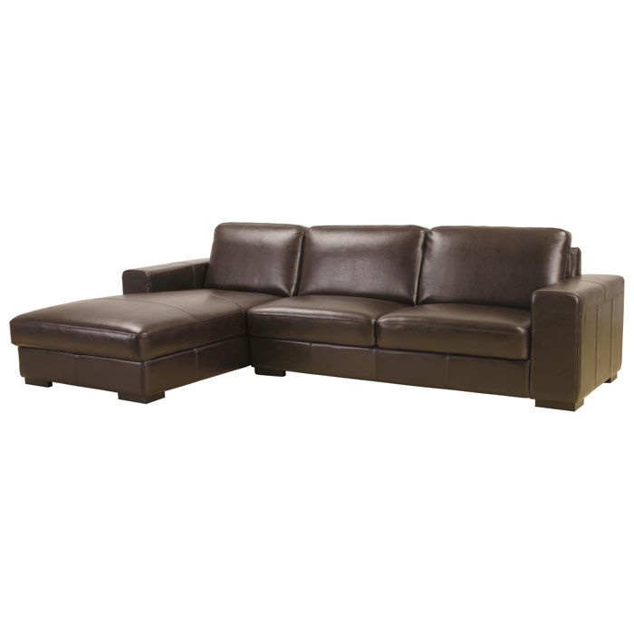 Susanna Dark Brown Leather Large Sectional with Chaise