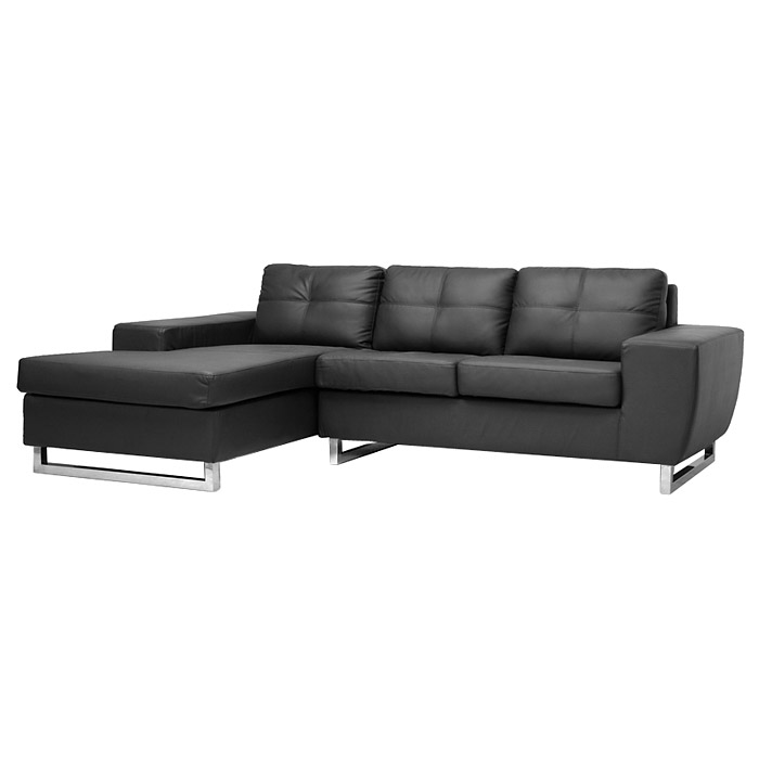 Corbin Chaise Sectional Sofa - Tufted, Chrome Legs, Black