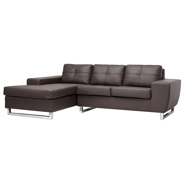 Corbin Chaise Sectional Sofa - Tufted, Chrome Steel Legs, Brown