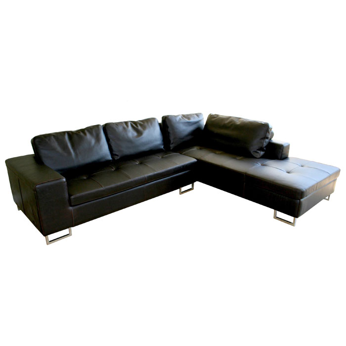 Vinson Dark Brown Leather Sectional with Chaise