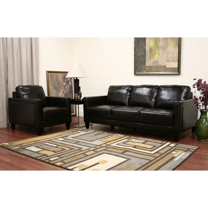 Arianna Espresso Brown Leather Sofa and Chair - WI-3168-001