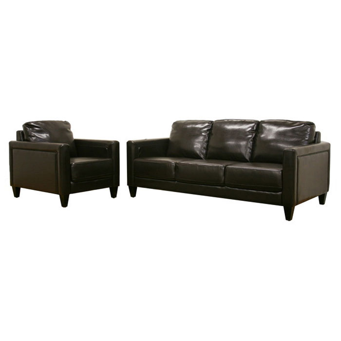 Arianna Espresso Brown Leather Sofa and Chair