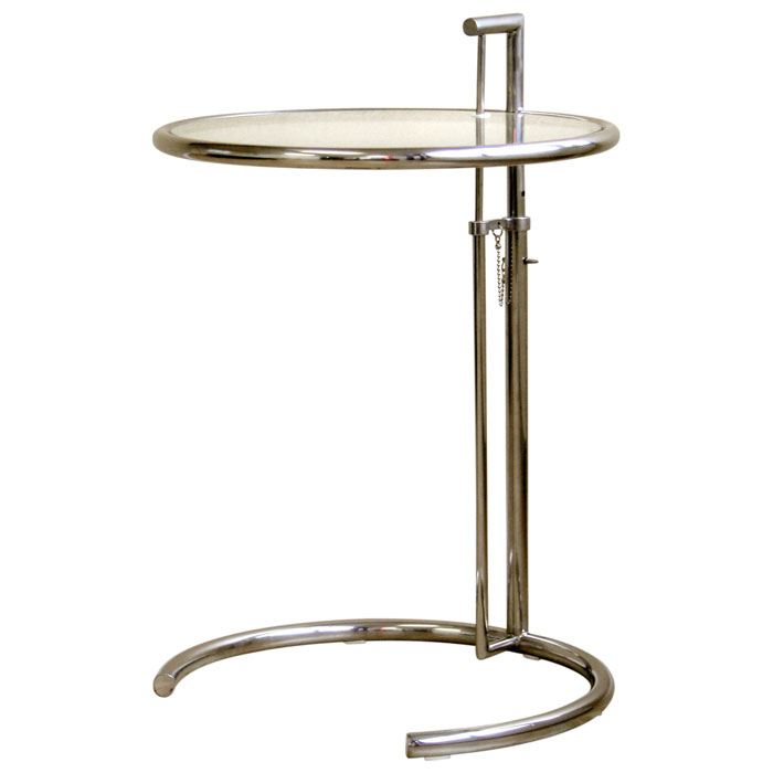 Eileen Grey Round Glass Top End Table