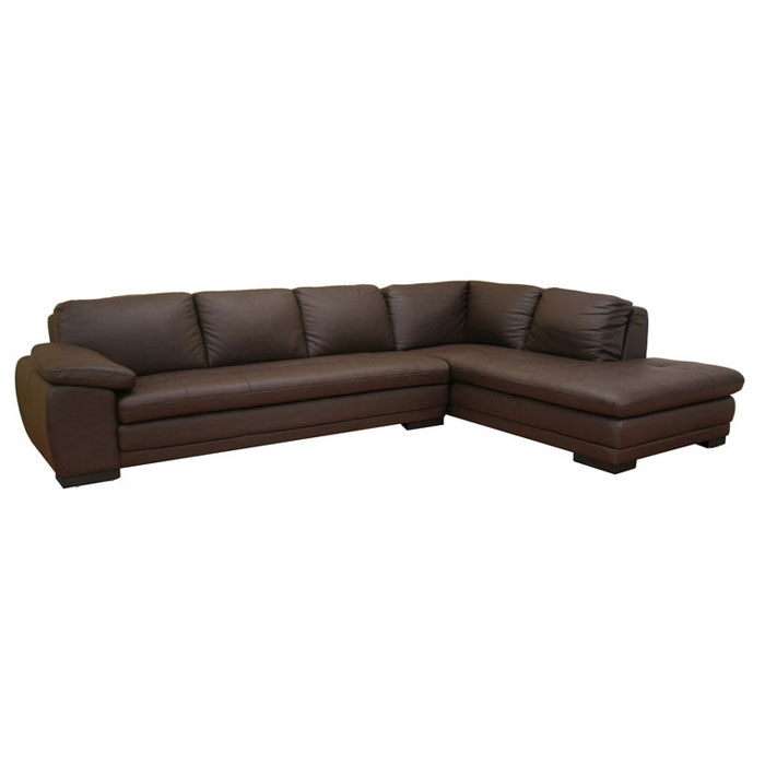Diana Brown Leather Sectional with Chaise