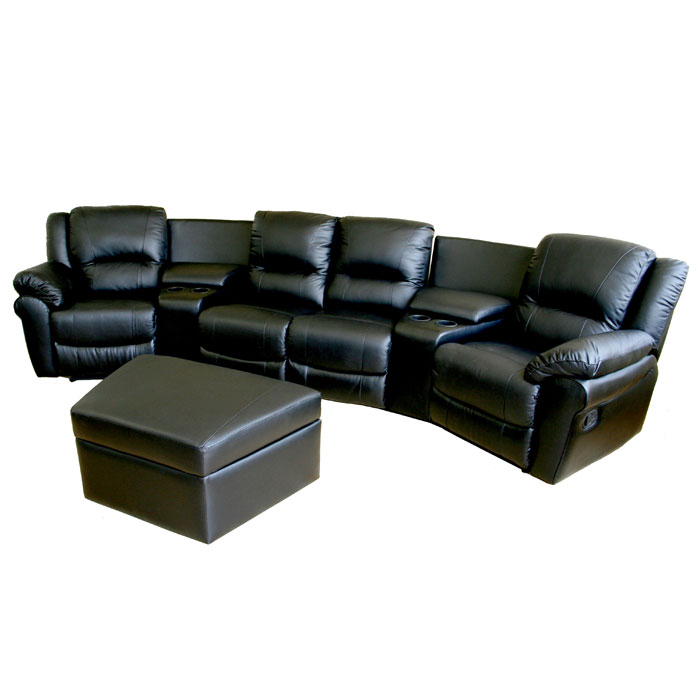 Majestic Curved Row Leather Home Theater Seating - Black - WI-8327-BLACK-7PC
