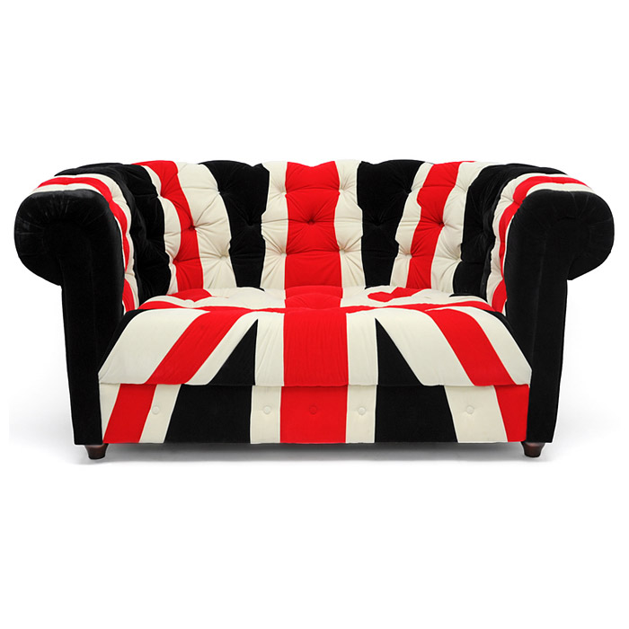 Union Velveteen Loveseat - Chesterfield Style, Brown Bun Feet - WI-9930-UK-FLAG-LOVESEAT