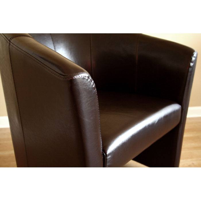 Somerset Full Leather Brown Club Chair with Wheels - WI-A-131-001