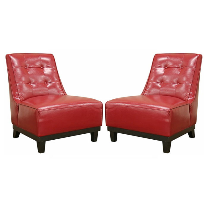 Lintlaw Red Leather Modern Club Chair (Set of 2) - WI-A-703-067
