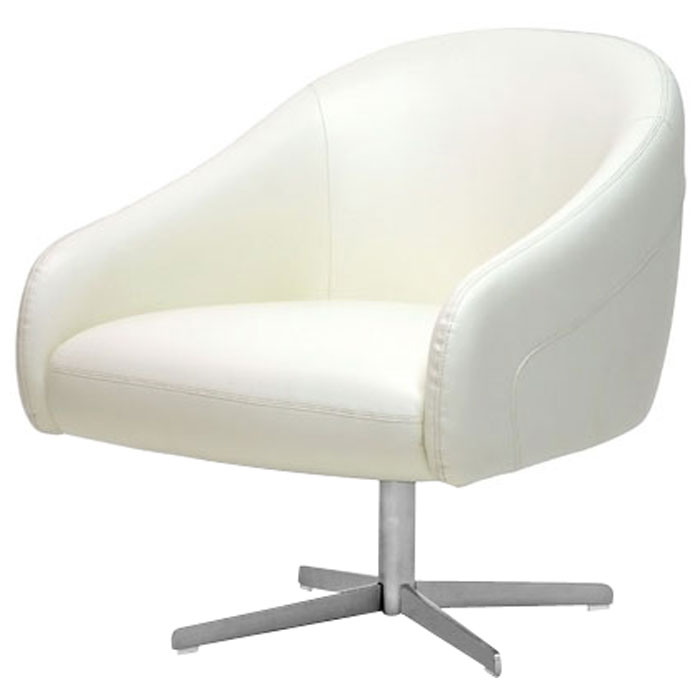 Balmorale Ivory Leather Swivel Chair
