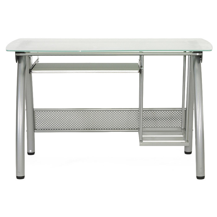 Tamm Computer Desk - CPU Stand, Keyboard Tray, Frosted Glass - WI-AA-0634R-CLEAR-DESK