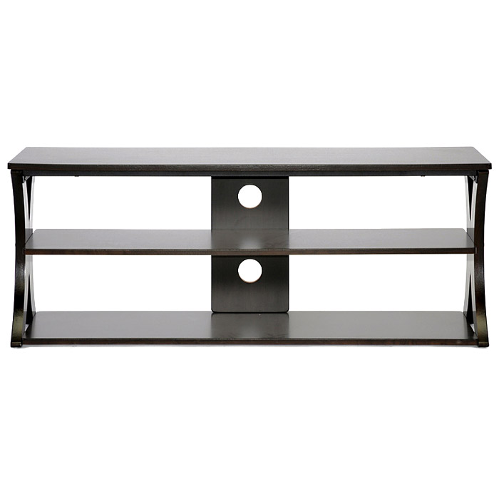 Xavier 45'' Wooden TV Stand - Wenge Finish, Black Steel Bars - WI-AA-TV-9-WENGE-TVS