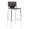 Montclare 29.25'' Bar Stool - Chrome Frame, Brown Leather