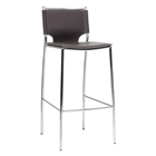 Montclare 29.25 Bar Stool - Chrome Frame, Brown Leather