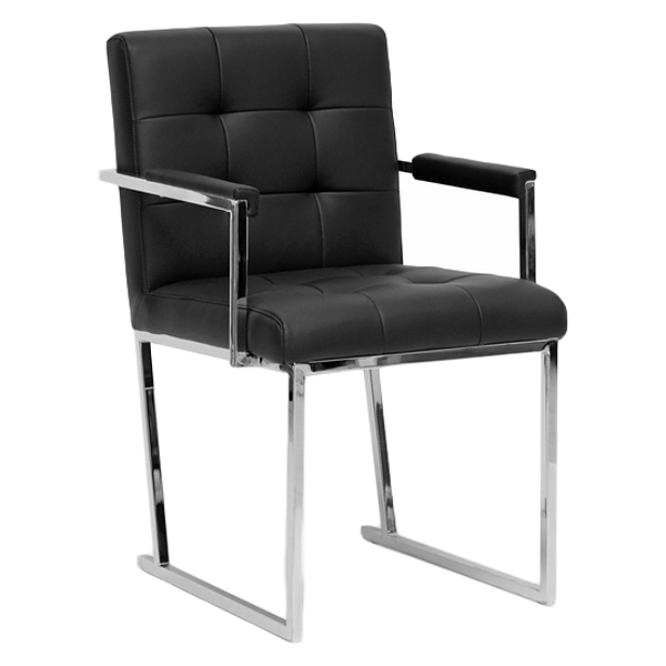Collins Mid-Century Chair - Black Leather, Chrome Steel Legs