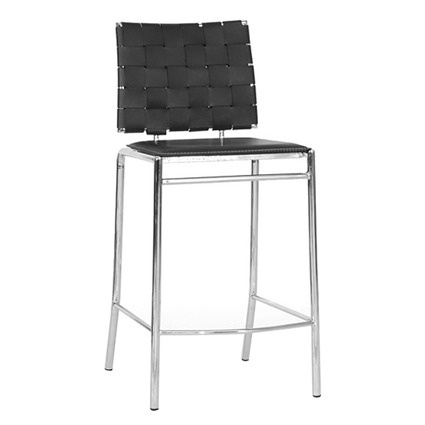 Vittoria 26'' Counter Stool - Chrome Steel, Black Woven Leather - WI-ALC-1866B-65-BLACK