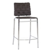 Vittoria 26'' Counter Stool - Chrome Frame, Brown Woven Leather
