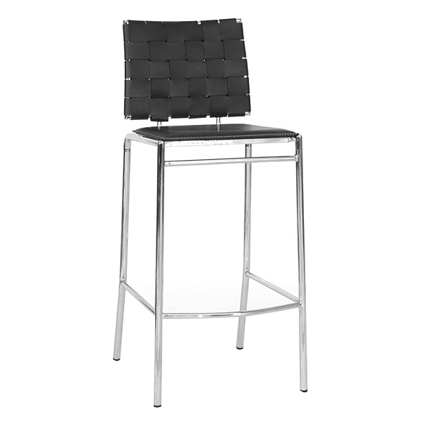 Vittoria 30'' Bar Stool - Chrome Steel, Black Woven Leather