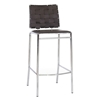 Vittoria 30'' Bar Stool - Chrome Frame, Brown Woven Leather