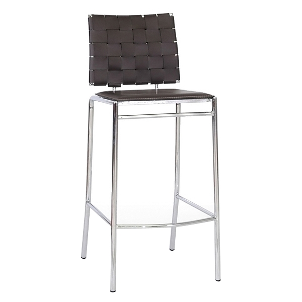 Vittoria 30'' Bar Stool - Chrome Frame, Brown Woven Leather - WI-ALC-1866B-75-BROWN