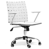 Vittoria Adjustable Swivel Office Chair - Tilt, Casters, White Leather
