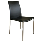 Benton Stackable Black Leather Dining Chair