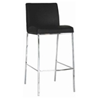Callero Black Leather Bar Stool