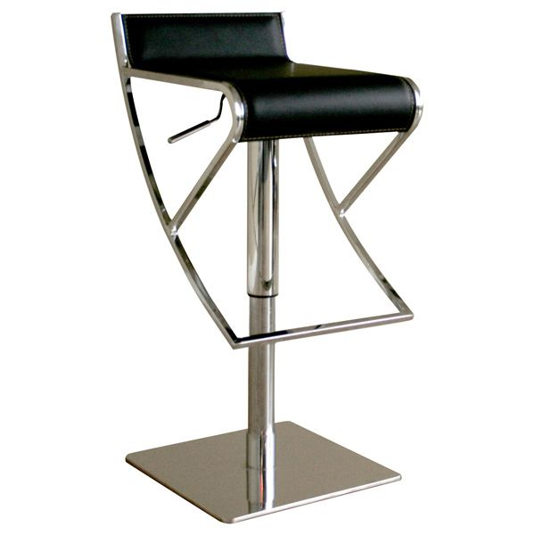 Yayaku Modern Bar Stool - Chrome, Black Leather - WI-ALC-2215