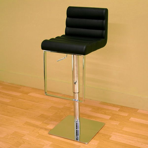 Sandia Adjustable Swivel Barstool - Modern, Black Ribbed Leather - WI-ALC-2230-BLACK