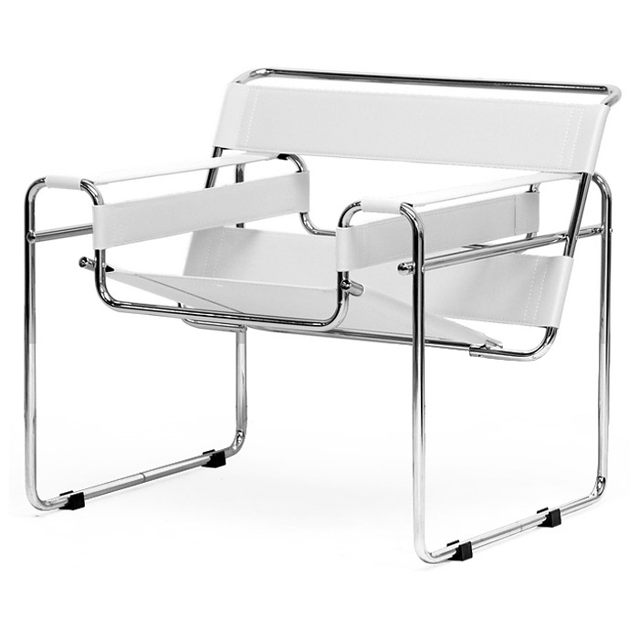 Jericho Marcel Breuer Inspired Accent Chair - White Leather - WI-ALC-3001-WHITE