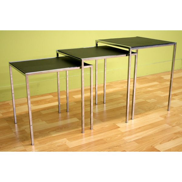 Deejay Black Leather Top Nesting Tables Set