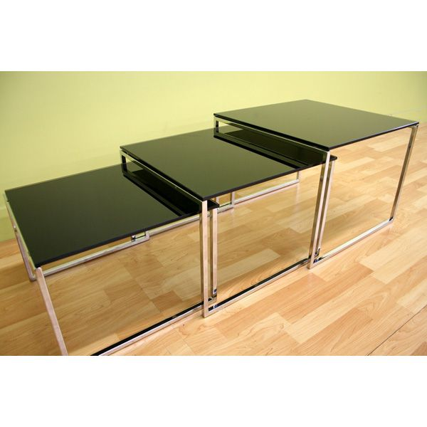 Allisyn Black Glass Nesting Tables