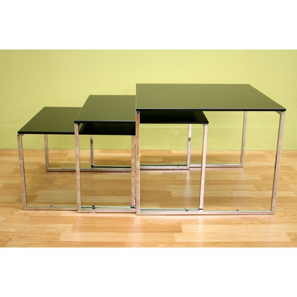 Allisyn Black Glass Nesting Tables - WI-ALG-9026-Black
