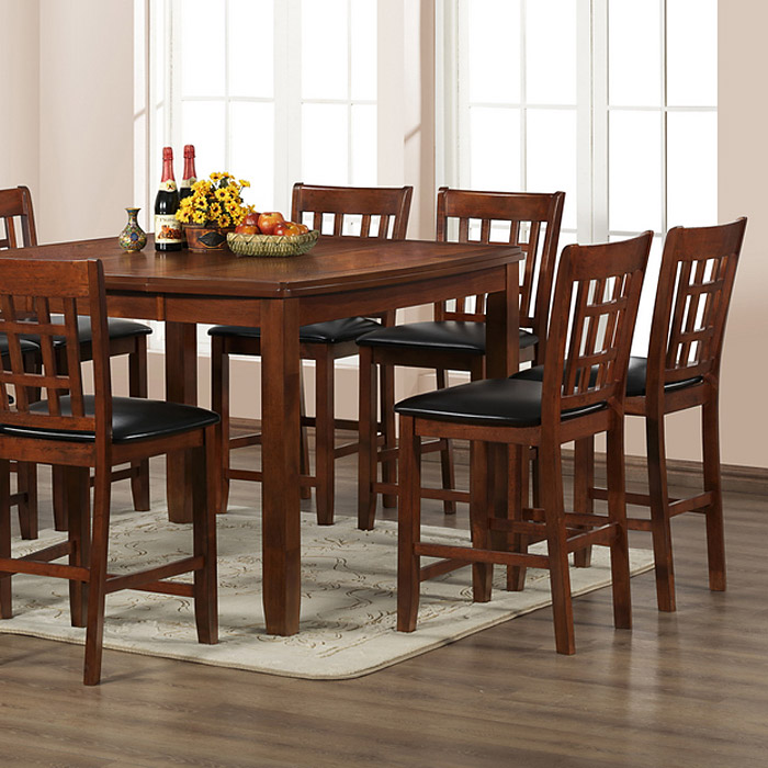 Amber 7 Piece Counter Dining Set - Extension Table, Cherry Finish