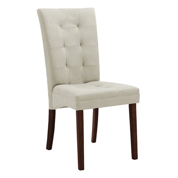 Anne Dining Chair - Dark Brown Legs, Beige Twill Fabric