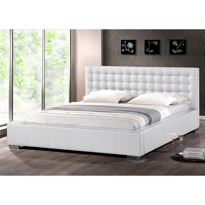 Madison King Platform Bed - Square Tufts, Metal Legs, White - WI-BBT6183-WHITE-KING-BED