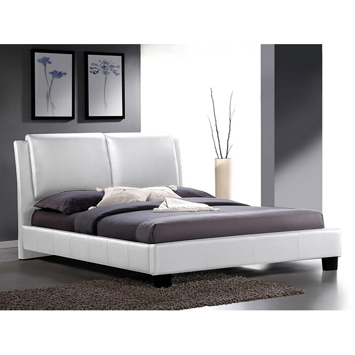 Sabrina King Size Platform Bed - Overstuffed Headboard, White - WI-BBT6082-WHITE-KING-BED