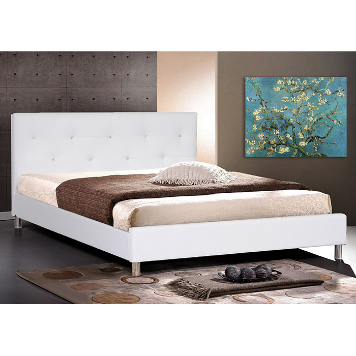 Barbara Queen Platform Bed - Crystal Tufts, Metal Legs, White - WI-BBT6140-WHITE-BED