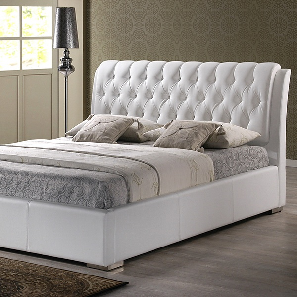 Bianca Queen Platform Bed - Diamond Tufts, Metal Legs, White - WI-BBT6203-WHITE-BED