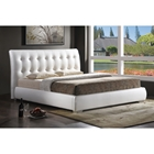 Jeslyn Platform Bed - Tufted Headboard, White