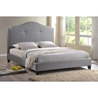 Marsha Scalloped Linen Platform Bed - Gray