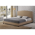 Aisling Fabric Queen Platform Bed - Dark Beige