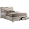 Ainge Fabric Upholstered Storage Queen Bed - 2 Drawers, Button Tufted - WI-BBT6423-BED