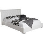 Marina Faux Leather Platform Bed - Crystal Buttons, White