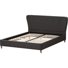 Camden Fabric Upholstered Platform Bed - Button Tufted, Dark Gray