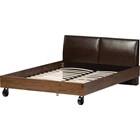 Brooke Platform Bed - Dark Brown Headboard, Walnut